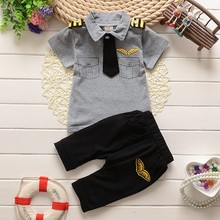 BibiCola clothes suits children baby boys summer clothing sets cotton kids tie gentleman outfits child short sleeve tops t shirt(China)