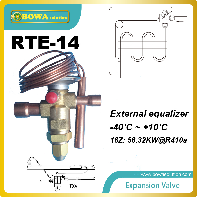 RTE-14 TEV feeler bulb is connected to the evaporator and senses the temperature inside the evaporator of the refrigeration unit<br>
