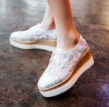 Hot selling white lace flower embroidery flat platform shoes square toe lace-up casual shoes breathable fashion shoes