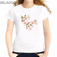 GELIAOCONG 2017 Picture Flowers Pink Sping Big Girl Ladies t-shirts Simple Plus Size Best Sleeve Shirt Colorful Model Loose(China)