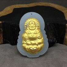Full gold inlaid natural and nebula 3D Buddha public pendant security security female with certificate(China)
