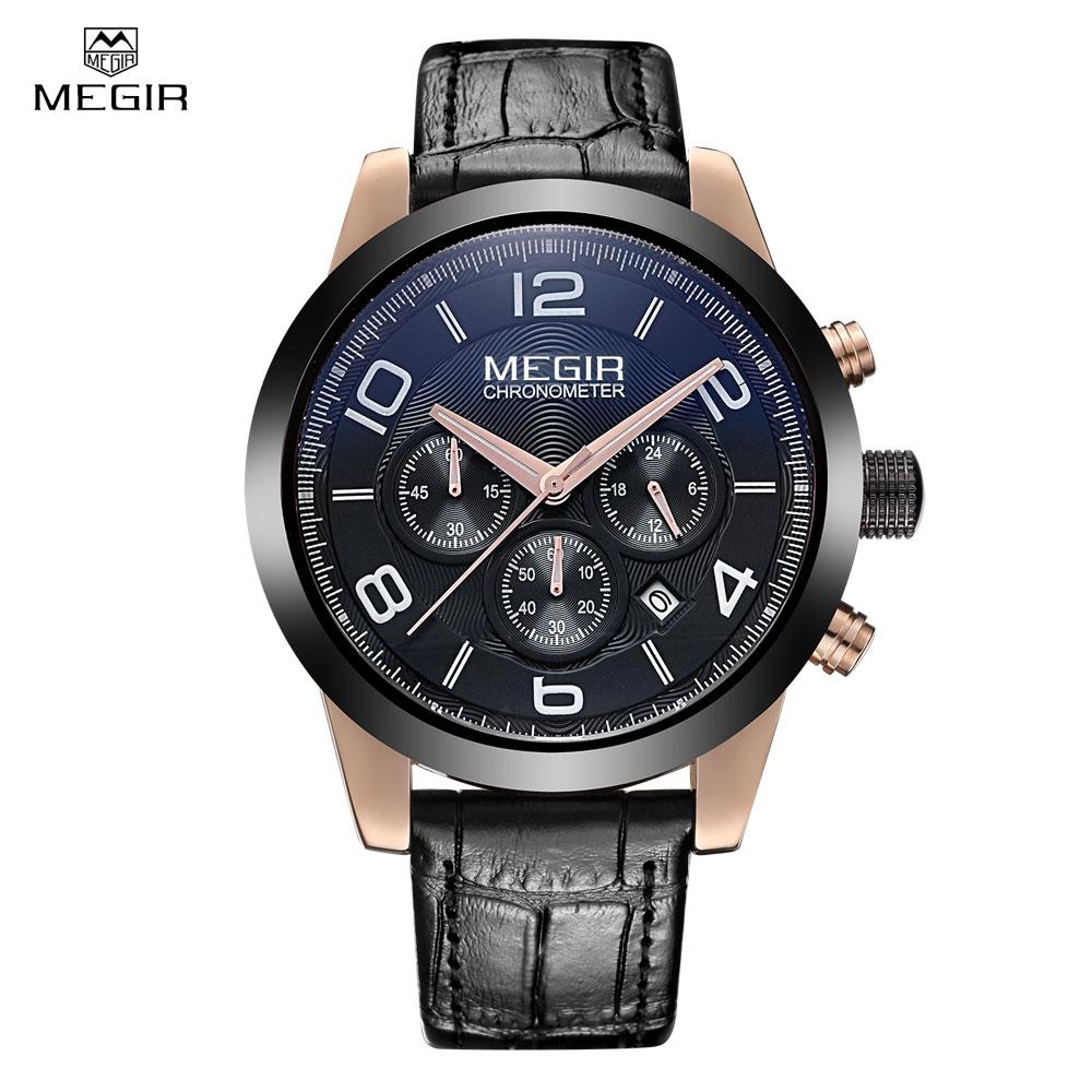 Megir brand sports quartz watch men genuine leather multifunctional date watches waterproof wristwatch male 2025 free shipping<br>