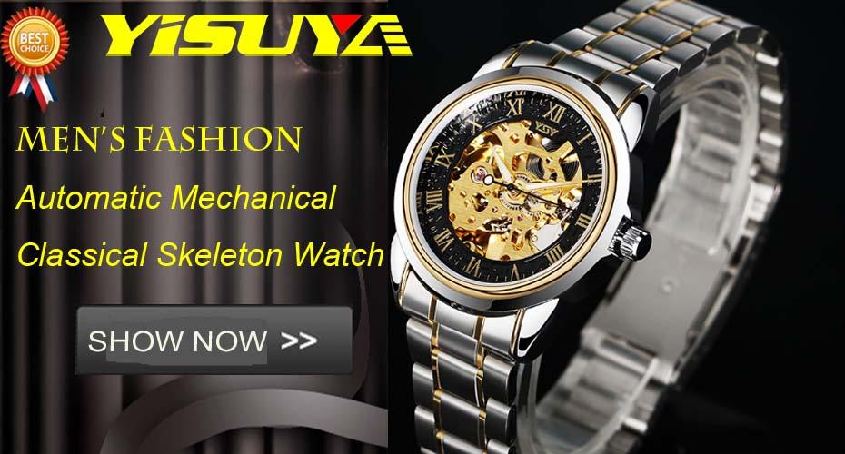 YISUYAแฟชั่นลำลองผู้ชายนาฬิกาอะนาล็อกควอตซ์ฉลามสีดำสแตนเลสตาข่ายวงสร้างสรรค์นาฬิกาข้อมือท... 1