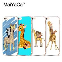 MaiYaCa Best Friends Cartoon panda on giraffe Transparent TPU Soft Cell Phone Protective Cover For iPhone 4s 5s 6s 7 7plus case(China)