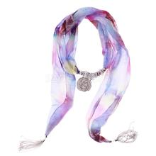 Women Scarf Alloy Tassel Jewelry Flower Pendant Scarf Necklace Vintage Boho Neckwear