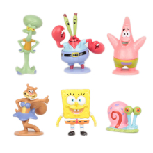 6pcs/set Spongebob Bob Sponge Miniatures Action Figures Patrick Star Anime Figurines Collectibles PVC Sandy Dolls Toys Gift#E(China)