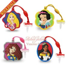4pcs/lot lovely Sofia Princess PVC Dust Plug Phone Pendants phone accessories Strap ropes travel bag decortion