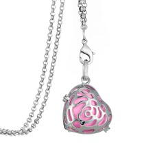 My Shape HEART shaped locket pendant diffuser long link chain necklace for girls metal perfume bottle pendant