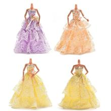 3 Colors Elegant Lace Multi Layers Wedding Dress For Barbie Doll Luxury Floral Doll Dress Clothes Clothing 23cm