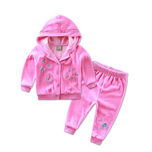 2016 New arrival velvet summer baby girl spring child set casual children's clothing two pieces set children girls twinset(China)
