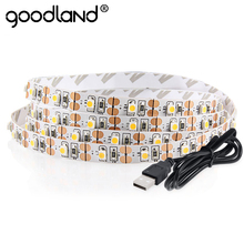 Goodland DC 5V USB LED Strip Light SMD 3528 LED Tape RGB White Warm White Ribbon 50CM 1M 2M 3M 4M 5M LED Backlighting TV(China)