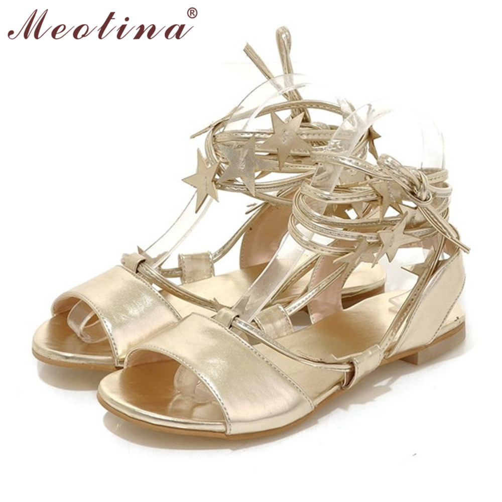 Meotina Shoes Women Sandals Summer Open Toe Gladiator Shoes Party Evening Flat Sandals Female Stars Lace Up Ladies Shoes Sliver <br><br>Aliexpress
