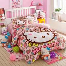Hello kitty bedding comforter set Cartoon bedding bed sets cotton bed sheets duvet cover