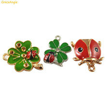 Buy GraceAngie 6PCS Colorful Cute Ladybug Clover Shape Alloy+Enamel Made Mix Sale Pendant Charms Finding Jewelry for $1.41 in AliExpress store