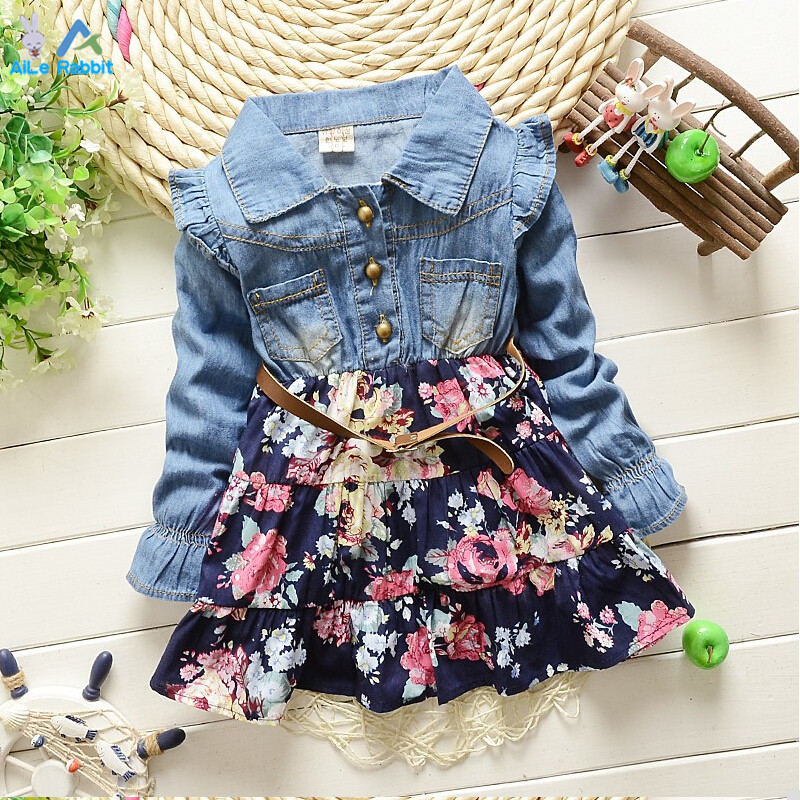 2016 spring and summer new Korean girls long-sleeved floral dress fashion denim dot kids clothing free shipping<br><br>Aliexpress