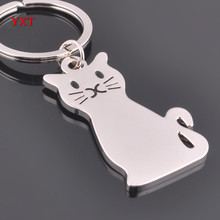 New Fashion Cute Persian Cat Polished Silver Metal Charm Car Key Ring Chain Creative Party Delicate Gift High-Quality(China)