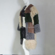 SJ1021 Cheap Furs High Quality Long Length Women Clothes Rabbit Sheep Knitting Coat