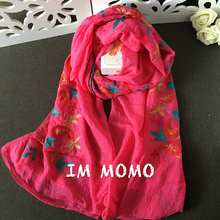 New Fashion Mori Girl Floral Scarfs and Wraps Japanese Ethnic Style Embroidered Scarves and Shawls for Women Cotton Bandana(China)
