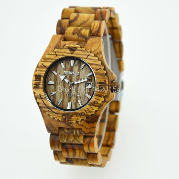 Relojes Sport Bewell Zebra Wood Watch for Men Japan Movement Quartz Collection<br>