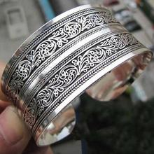 European Concave Metal Tibetan Silver vintage retro Bangle Totem Cuff Bracelet Valentine's Day Gift for her Cuff Jewelry