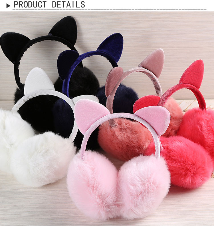Mwfus Girls Women Cute Rabbit Earmuffs Winter Warm Foldable Ear Warmers