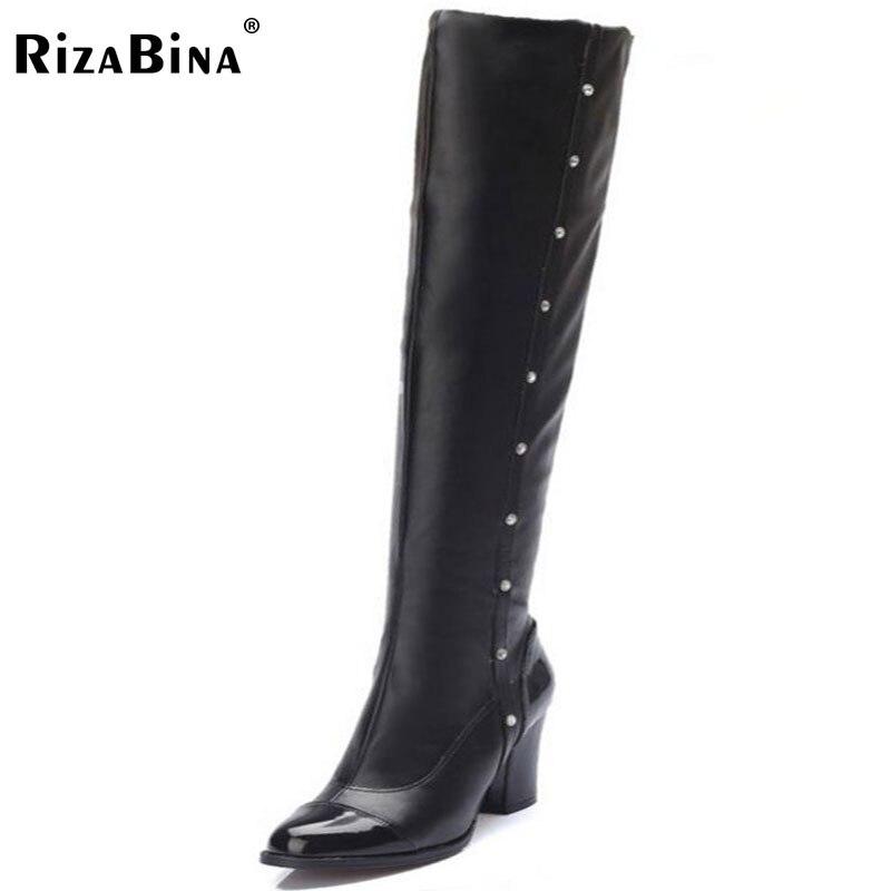 RizaBina size 32-48 women mixed color high heel over knee boot winter botas warm knight long boot footwear heels shoes P21739<br>