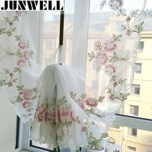 2017 New Rose Embroidery Ribbon Roman Curtain Home Wave European Living Room Kitchen Balcony Voile 1PC(China)