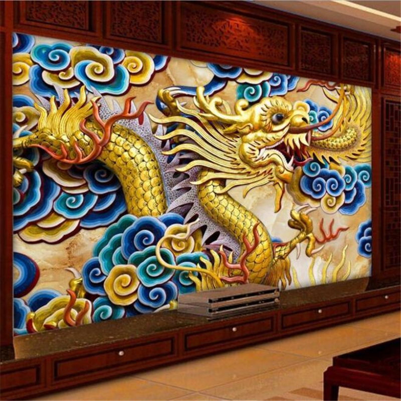 wall wallpaper 3d Anaglyph background photography Chinese dragon relief bedroom room paper mural murals-3d papel de parede<br><br>Aliexpress