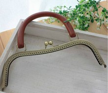 TS-02 Solid wood handle High-grade wooden handle Metal Purse frame Kiss Clasp DIY accessories Coin Purse 26CM antique brass(China)