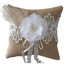 Flower Burlap Hessian Lace Decor Wedding Ring Pillow Bridal Decoration Products Supplies(China)
