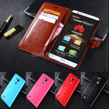 Luxury Book style Wallet Leather Case for Huawei Ascend Mate 7 wallet stand flip leather case with card slot Brown case
