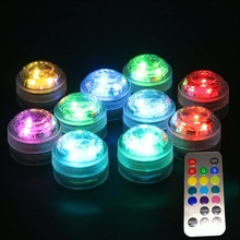 12pcs Waterproof Underwater Battery Powered Submersible LED Tea Lights Candle for Wedding Party With Remote Controller