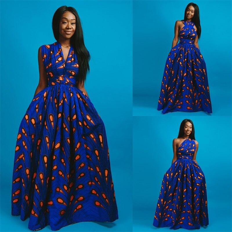 Wax Long Yellow Blue Dress  African Dress Pagne Wax Sleeveless Long Dress Infinity Dress Bridesmaid Dress