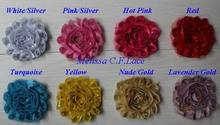 "Free DHL/EMS 55y 2.5"" shiny metallic shabby flower trim for hair accessories headbands crafting scrap booking clothing top hat"