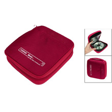 New Red Zipper Closure 32pcs CD Discs Square Design Storage Holder Case