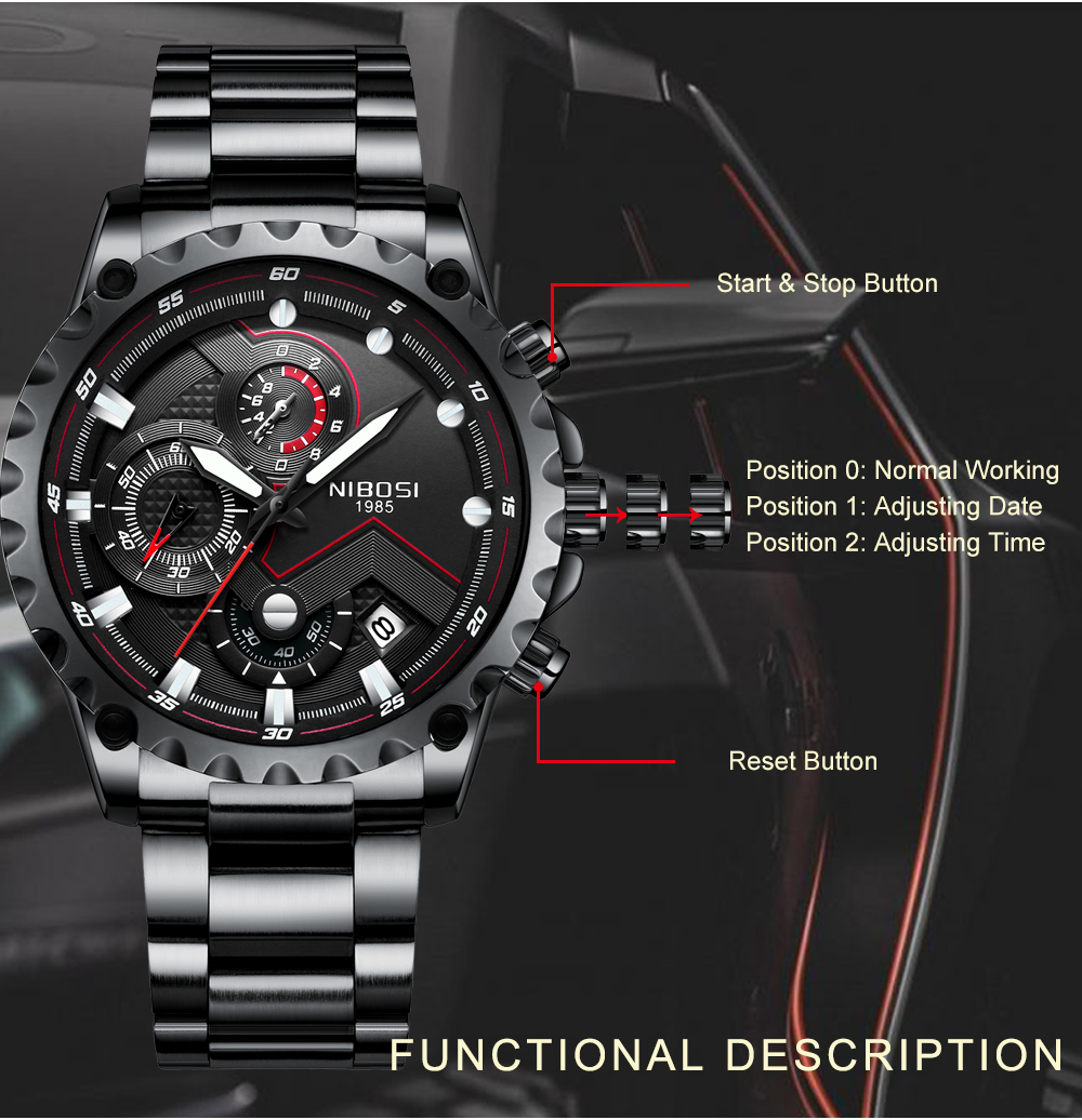 Military Watches Men Quartz Analog Men Watches Stainless Steel Time Date Clock Men Luxury Brand Hot Famous Brand Watches NIBOSI  (4)