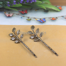 19x37mm Blank Bobby Pins Bases Settings Hollow Leaf pads Hair Clip Hairpins Crafts DIY Findings Silver/ bronze tone