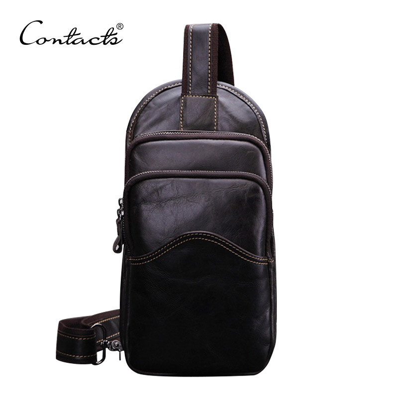 CONTACTS Casual Mens Chest Pack Genuine Leather Bags Multifunctional Small Messenger Bags Vintage Shoulder Bags<br><br>Aliexpress