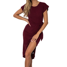 Buy 2018 Split Sexy Dress Fashion Asymmetrical Short Sleeve O-neck Casual Dresses Women Summer Solid Party Sundress Robe Femme GV771 for $8.79 in AliExpress store