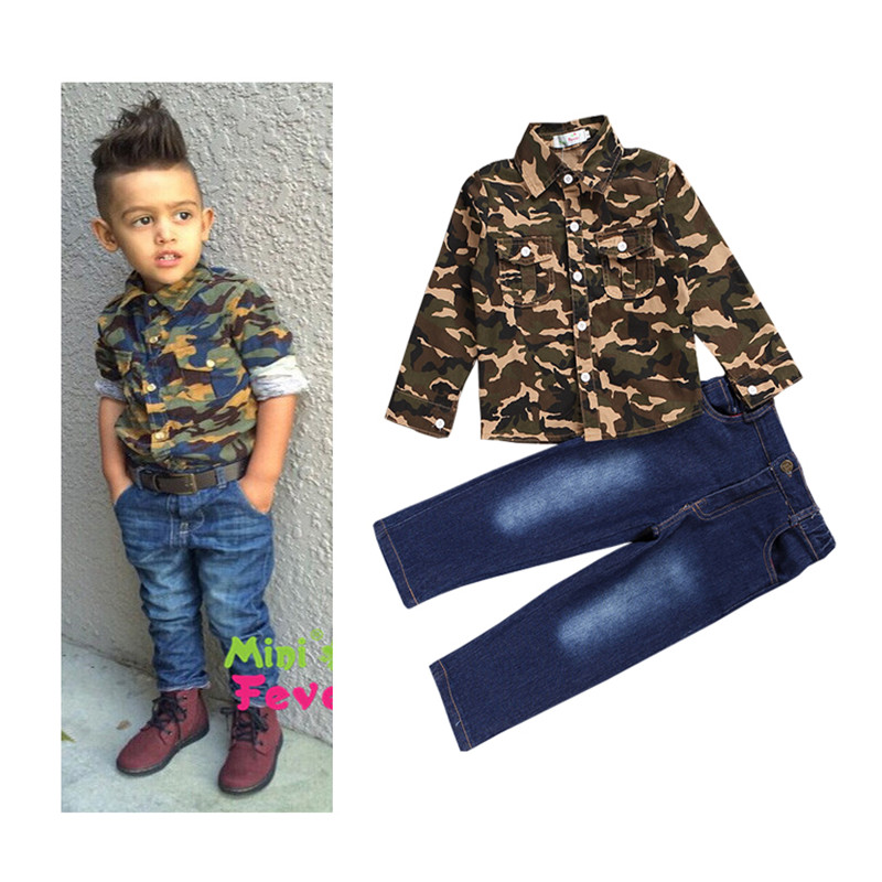 2015 Autumn children boy fashion clothing set baby boys Long sleeve Camouflage patterns shirt + jeans boy European style clothes<br><br>Aliexpress