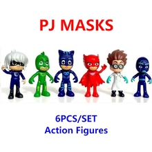 Wholesale 6pcs/set Pj action figures masks Characters Catboy Owlette Gekko Cloak Toys Boy Birthday Gift Plastic Dolls brinquedos