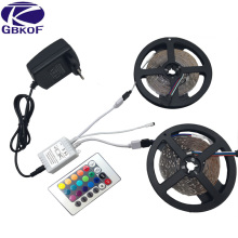 GBKOF Decoration 5m 10m RGB led strip 3528 SMD 60LED/M diode flexible strip LED light Set+RGB remote control+DC12V Power Adapter