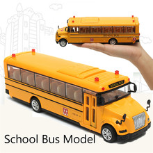 1:32 Yellow Pull-Back School Bus Alloy models With Light & Music Toy Car Door For Children Collection Kids Birthday Gift(China)