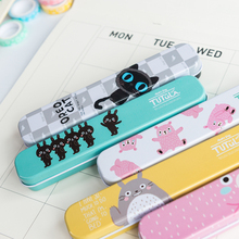 1X Cute Kawaii Totoro Oreo Cat Portable Metal Tin Pencil Pen Case Storage Case Box Student Stationery School Office Supply(China)