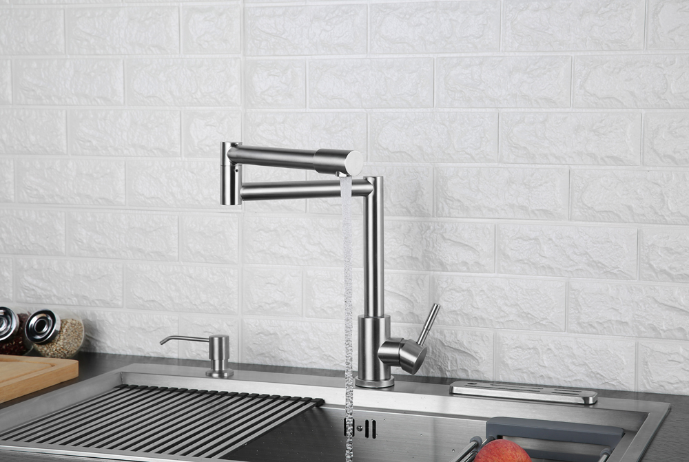 Folding Kitchen Faucet Stretchable Swing Arm Brushed  Single Hole Single Handle Deck Mounted Cold & Hot Kitchen Sink Faucet  (10)