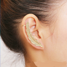 Crystal Silver Plated Leaves Ear Cuff Clip Earings For Women wihout Pierced High Quality Fashion Jewelry