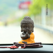 Small Buddha Statue Monk Figurine Car Accessories Color sand pottery ceramic Crafts Home Decorative Office Living room ornaments