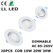 20PCS LED COB Downlight Dimmable 10W 20W 30W Spot LED Recessed Ceiling Lamp Indoor Lighting Fixtures LED Spot Light(China)