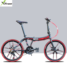 New brand aluminum alloy frame 22/20 inch S tube folding bike 21 speed disc brake light bicycle quality bicibleta