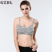 GZDL Sexy Modal Women's Slim Fitness Back Cut Out Strappy Padded Bra Fashion Ladies Striped Bralet Vest Tank Crop Top Cami NY334(China)